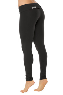 STRETCH Cotton Rolldown Leggings - BLACK ON BLACK - FINAL SALE - XS, S & L