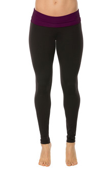 Rolldown Leggings - EGGPLANT ON BLACK - FINAL SALE - XSMALL (3 AVAILABLE)