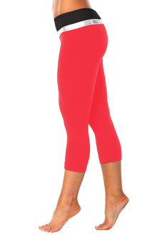 Sofia Band 3/4 Leggings - VEGAS RED AND SILVER ON BLACK - FINAL SALE - SMALL (1 AVAILABLE)