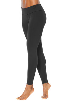 Sport Band Leggings - BLACK ON BLACK - FINAL SALE - SMALL- INSEAM 27""