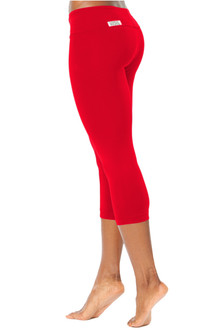 Red Cotton Sport Band 3/4 Leggings - FINAL SALE -  L