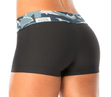 MINI BAND MINI SHORTS - CAMOUFLAGE BLUE ON SUPPLEX