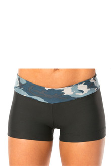 CAMOUFLAGE BLUE MINI BAND MINI SHORTS