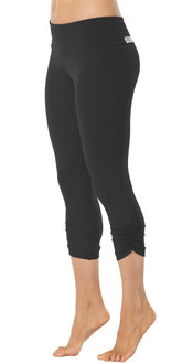 Sport Band Side Gather 3/4 Leggings - BLACK - FINAL SALE - XS & S