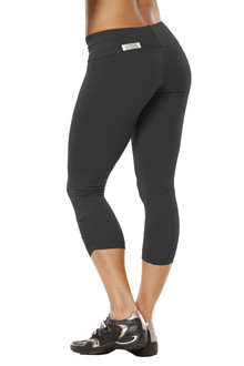 Sport Band Side Gather 3/4 Leggings - BLACK - FINAL SALE - XSMALL