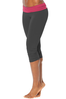 Rolldown Side Gather 3/4 Leggings - BERRY ON BLACK - FINAL SALE - XSMALL