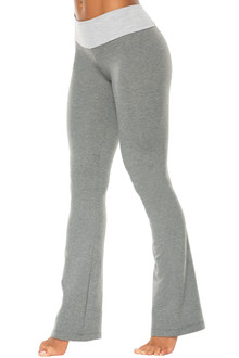 Medium Gray Cotton Sport Band Pants - bootleg