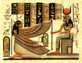 Isis with her horned crown papyrus