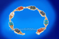 18K Gold Inlaid Stone Scarab Link Bracelet
