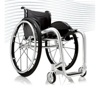 Progeo Joker Energy. A fully welded customised rigid frame with an adjustable backrest. The elliptical section tubing improves the rigidness of this eye-catching, extremely light and complete wheelchair for indoor and outdoor use. Only 7.0kg.