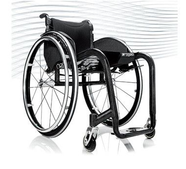 Progeo Noir. A carbon fibre rigid frame wheelchair, exclusively and individually made-to-measure. Meticulous Italian design delivers a stunning linear look incorporating technological advances for minimum weight with maximum resistance plus unique manoeuvrability. Only 6.3kg.
