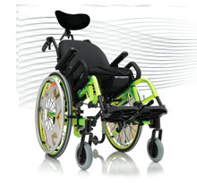 Progeo Tekna Tilt Junior. The range of adjustments and adaptions to this new generation of ultralight children's wheelchair are combined with the tilt function. Convenience, compactness and the light weight of the wheelchair is considerably helpful to the attendant.
