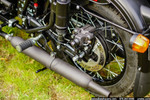 Black Peashooter Exhaust Mounted on Ural Motorcycle