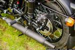 Black Peashooter Exhaust Mounted on Ural Motorcycle