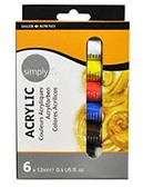 Daler Rowney Simply Acrylics Pack of 6 - CLEARANCE SALE!!  While stocks last