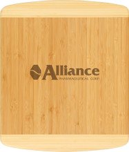 Beautiful and durable... this 13.5x11.5 Two-tone Bamboo cutting board can be personalized with your logo, name or even a family recipe.  Personalization is included with the purchase.