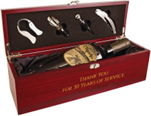 This is an elegant statement piece that will impress anyone.  Our Wine Presentation Box with Tools has a beautiful Rosewood finish and black velvet interior.  Personalize this with a company logo or recipient's name.  (Unfortunately, wine is not included.)
