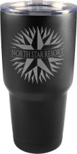 30 oz. Thermal Mug (Stainless Steel) with contemporary black powder coat finish.  Perfect for laser engraving your logo, badge and/or name.  Double wall, vacuum insulated and unbranded.