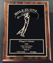Hole in One golf plaque crafted in beautiful walnut wood with black overlay.