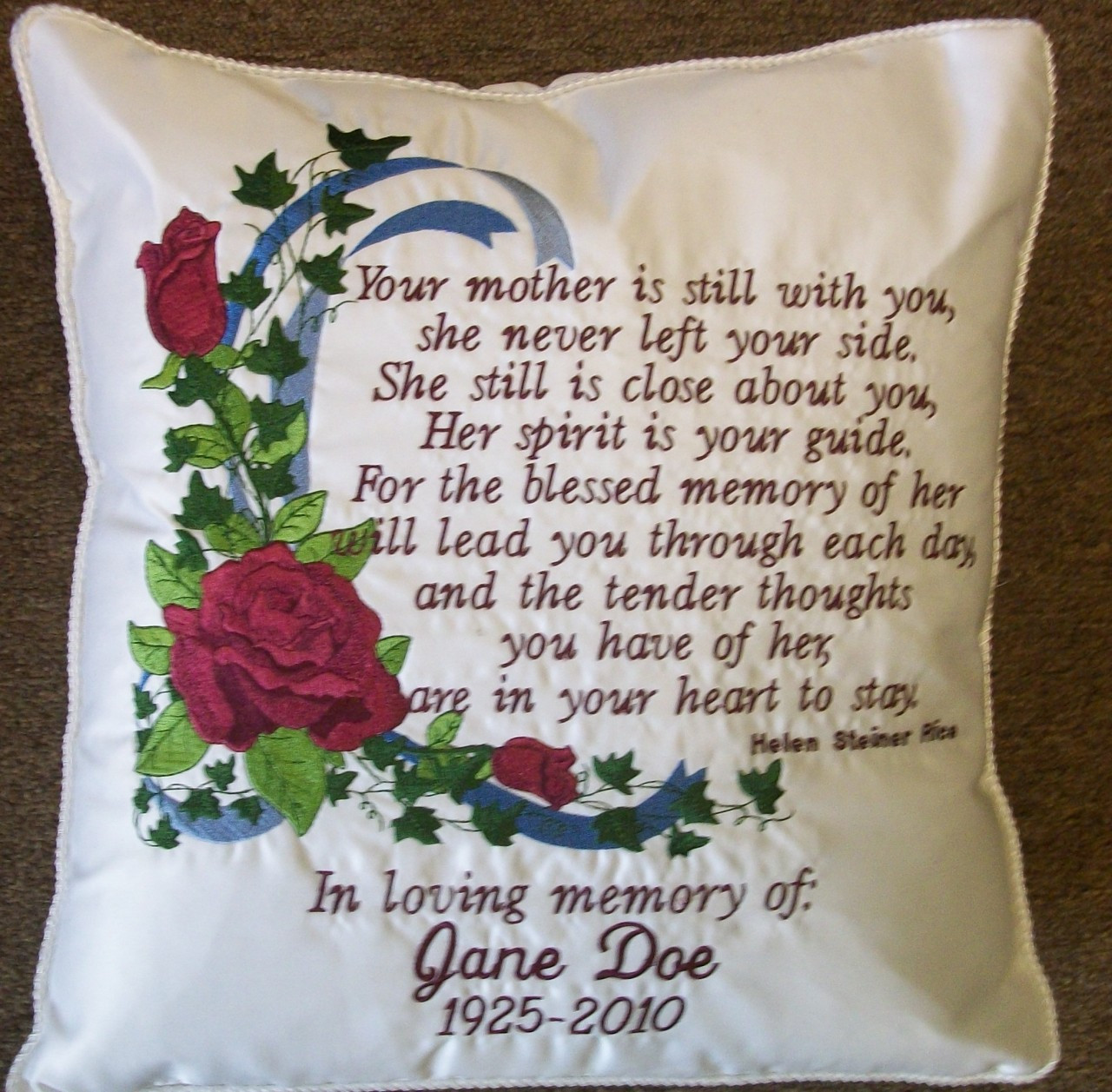 personalized in loving memory roses pillow let sgetpersonal
