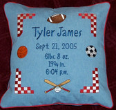 Baby/Child Pillow - Sports Balls & Statistics Design