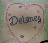 Baby/Child Pillow - Heart & Flowers Design