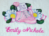 Baby Blanket - It's a Girl Shoe Design Sample