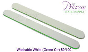 Princess Nail Files, 50 per pack - Washable White/Green, Grit: 80/100(#20095)