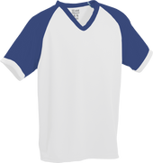 White/Royal Kobe Sportswear Punchout V-Neck Baseball House-League Youth Jersey | Blanksportswear.ca