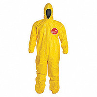 Tychem® 2000 Coveralls with Attached Hood and Socks, Yellow,  Large