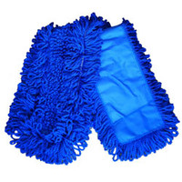 "Blue Looped Microfiber Dust Mop w/Slot Pocket - 5"" x 48"""