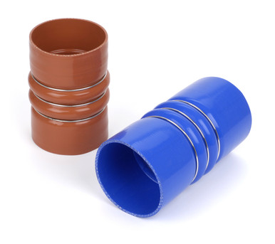 "4.500"" ID x 6.000"" blue polyester CAC silicone hose with rings"