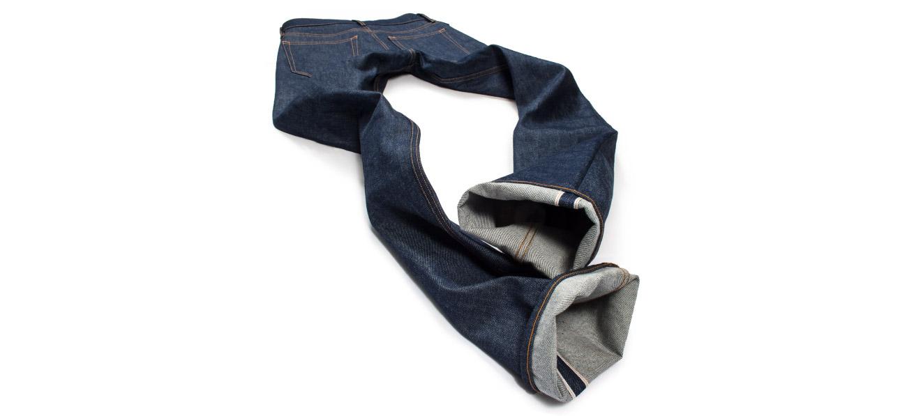 Raw Denim Selvedge American made jeans featuring Cone White Oak Denim