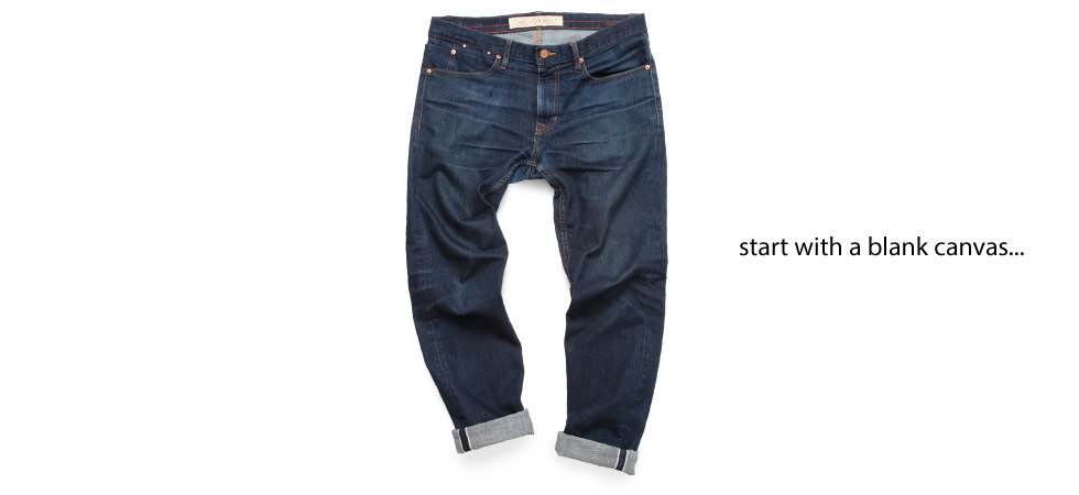 aged and faded raw denim made in usa jeans