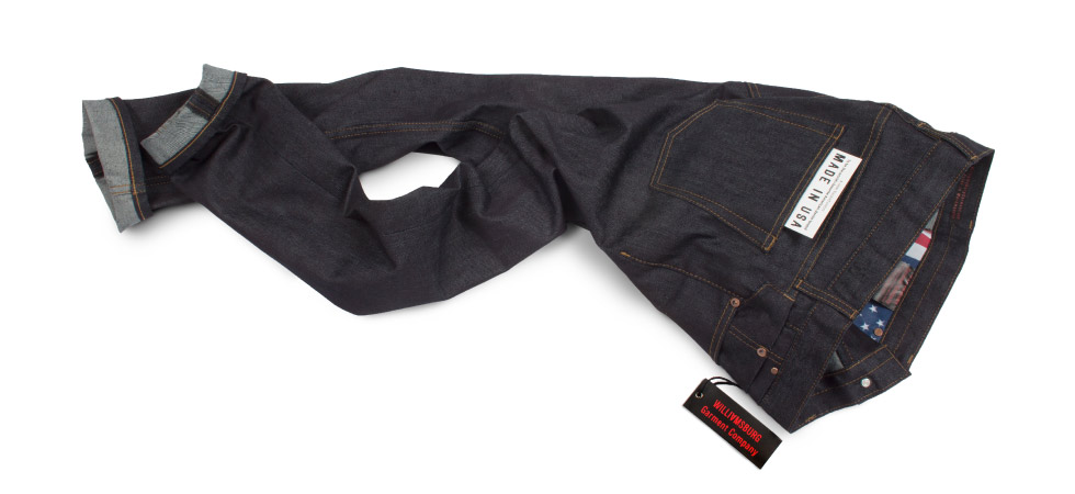 Raw denim jeans made in the USA