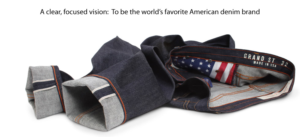 Raw selvedge jeans made in the USA with stretch