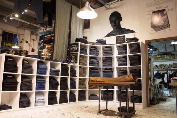 Inside raw denim specialist Williamsburg Garment Co. retail jeans store Brooklyn, NY 11211
