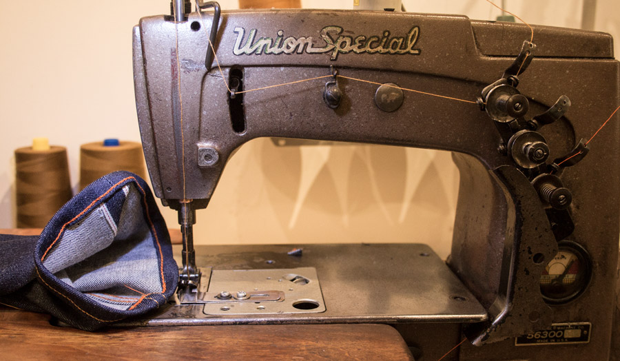 Chain stitch hemming denim alterations on Union Special