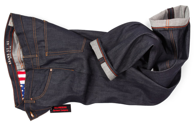 size 40 big mens raw denim jeans made in the USA