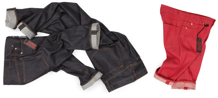 raw denim jeans with hemming and denim shorts in red and blue