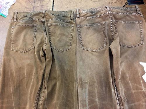 Vintage wash canvas work pants samples