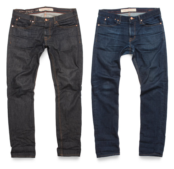 Compare early stages of raw denim naturally faded jeans