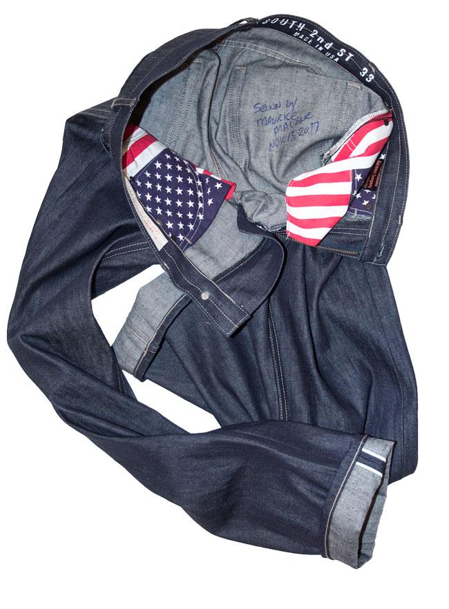 Hand made raw denim jeans by designer Maurice Malone