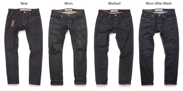 Raw jeans growth from raw to worn and stretched