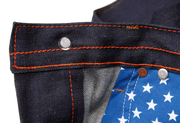 Inside detail of high quality American made jeans