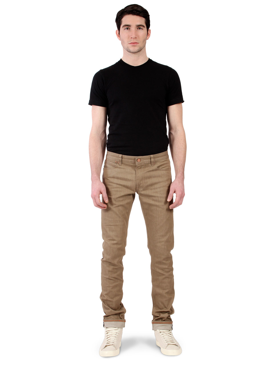 male kjokken gront  : Male Model wearing men's tan jeans
