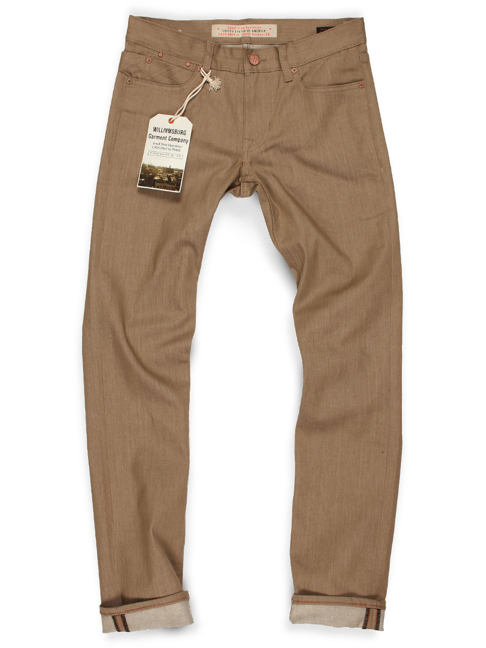 Slim Fit Tan Jeans For Men With Stretch | Williamsburg Jeans