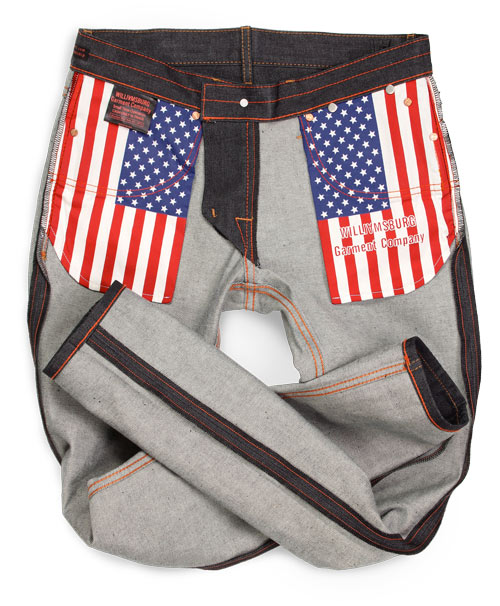 Hope Street raw denim American made jeans flag pockets details