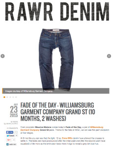 news article fade friday review of Williamsburg Garment Co. raw jeans aged fading