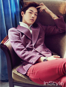 Instyle magazine Korea features man in Red Denim Jeans by Williamsburg Garment Company